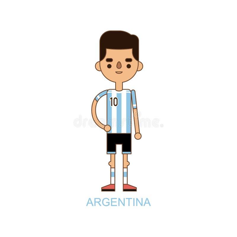 Nationell illustration för vektor för fotbollsspelare för eurokoppArgentina fotboll stock illustrationer