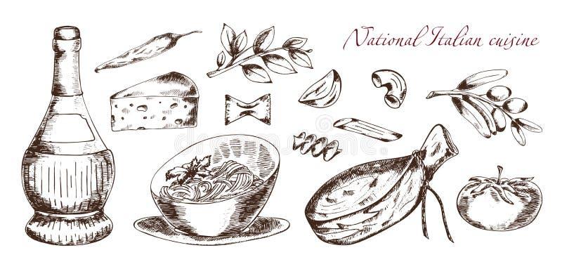 Nationell italiensk kokkonst vektor illustrationer