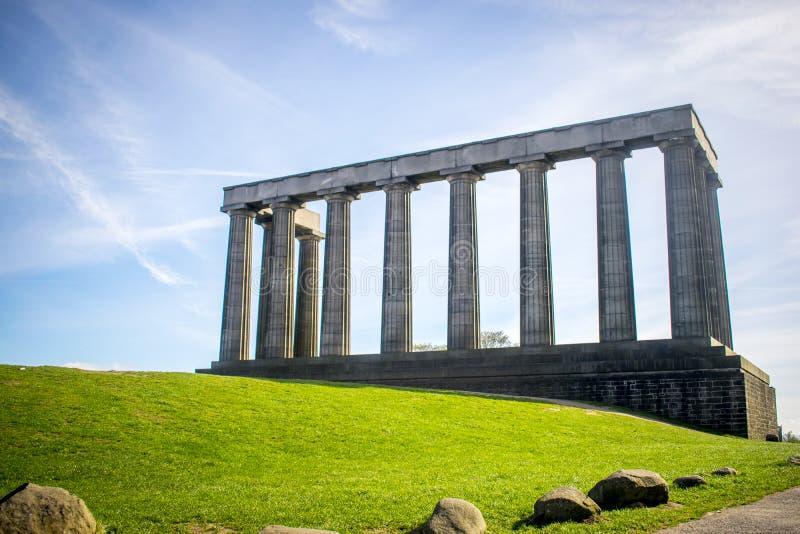 Nationell monument av Skottland på den Calton kullen, Edinburg, Skottland royaltyfri bild