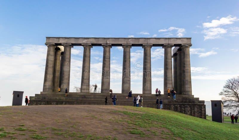 Nationell monument av Skottland på den Calton kullen, Edinburg fotografering för bildbyråer