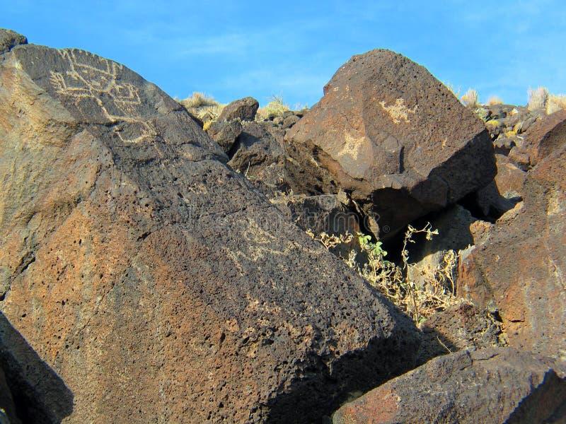 Nationell monument för Petroglyph i nytt - Mexiko arkivfoton