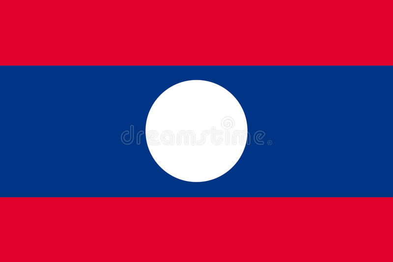 Nationell officiell flagga av Laos royaltyfri illustrationer