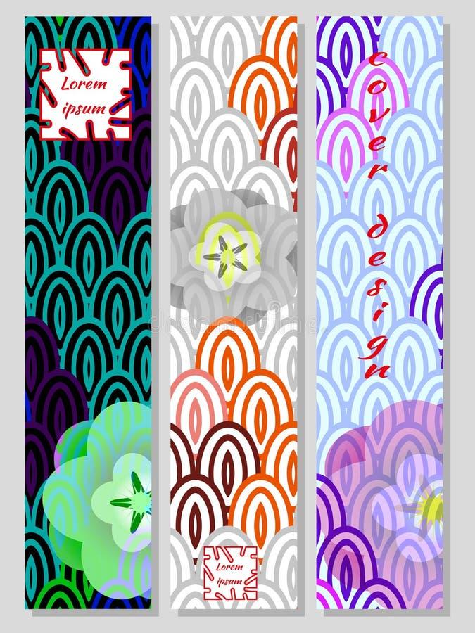 Nationell orientalisk modell, flerfärgad bakgrund av Koi karpvåg och sakura Ställ in av moderiktiga vertikala designmallar för rä vektor illustrationer
