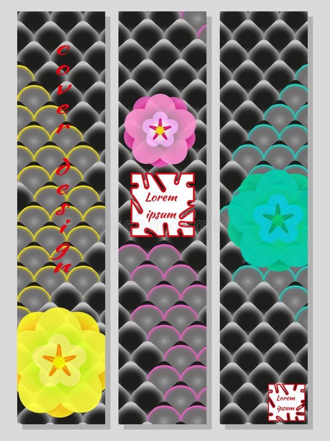 Nationell orientalisk modell, flerfärgad bakgrund av Koi karpvåg och sakura Ställ in av moderiktiga vertikala designmallar för rä stock illustrationer