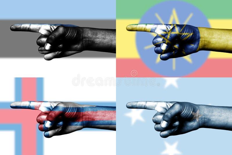 nationell pekande set för fingerflaggor royaltyfri fotografi