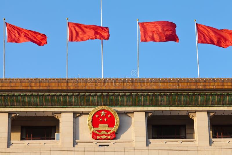 nationell red beijing för kinesisk emblemflagga arkivbilder