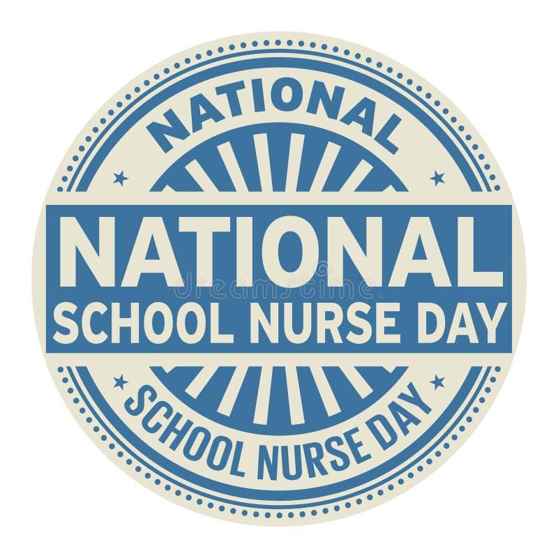 Nationell skolasjuksköterskaDay stämpel royaltyfri illustrationer