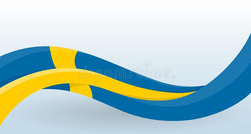 nationell sweden f?r bakgrundsflaggaillustration white Vinkande ovanlig form Designmall för garnering av reklambladet och kort, a vektor illustrationer