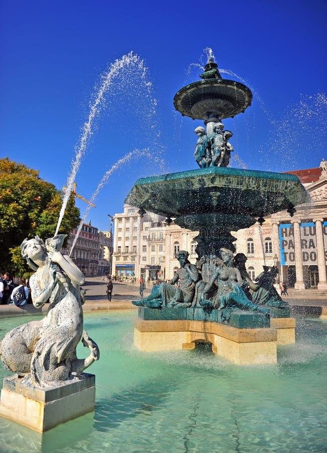 Nationell teater av Lissabon på den Rossio fyrkanten, Portugal royaltyfria bilder