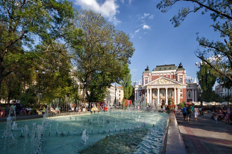 Nationell teater Ivan Vazov - Sofia royaltyfri fotografi