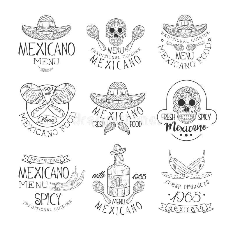 Nationell traditionell mexicansk samling för mall för design för tecken för kokkonstrestaurang hand dragen svartvit med kulturell stock illustrationer