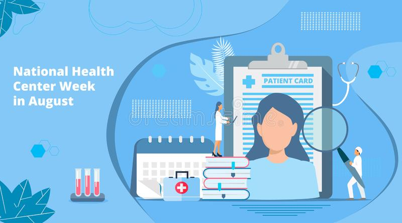 Nationell vecka för vård- mitt i August Healthcare, vektor för klinikmittbegrepp royaltyfri illustrationer