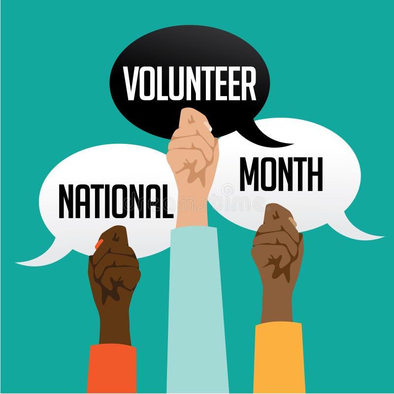 Nationell volontärmånaddesign stock illustrationer