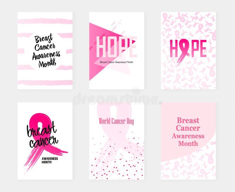 Nationella baner för bröstcancermedvetenhetuppsättning också vektor för coreldrawillustration vektor illustrationer