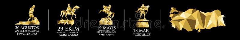 Nationella ferier och minnesdagen som firas i Turkiet Mustafa Kemal Ataturk staty och monument stock illustrationer