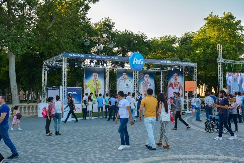 Nationella konkurrenser i sjösida parkerar i Baku royaltyfria foton