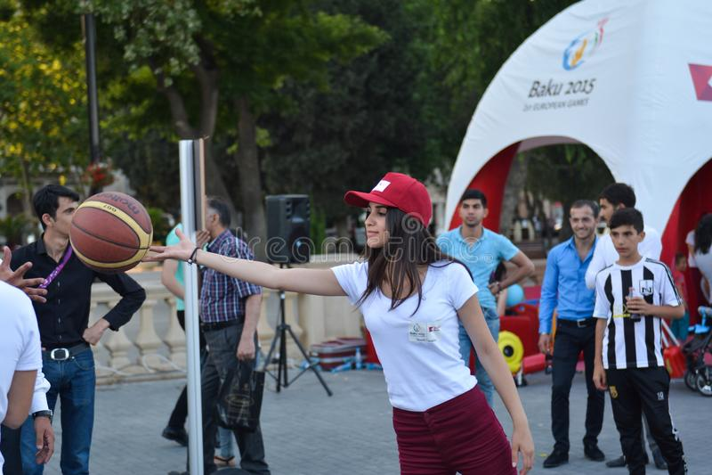 Nationella konkurrenser i sjösida parkerar i Baku arkivbild