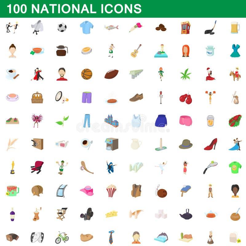 100 nationella symboler uppsättning, tecknad filmstil royaltyfri illustrationer