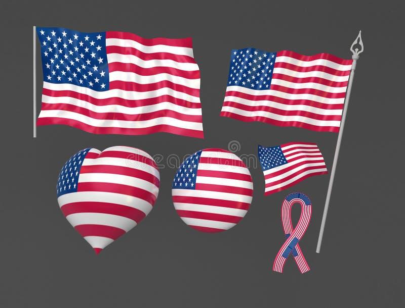 Nationella Tillstånd Symboliska Eniga Washington För Flagga Arkivbilder