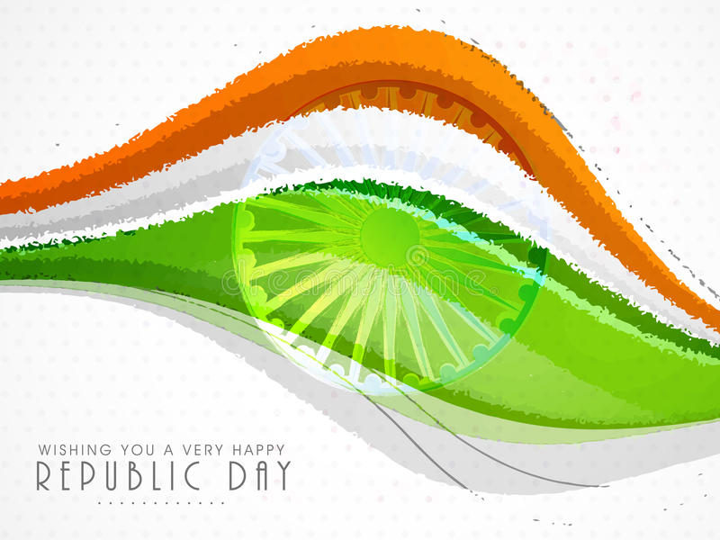 Nationella Tricolor vågor för indisk republikdag vektor illustrationer