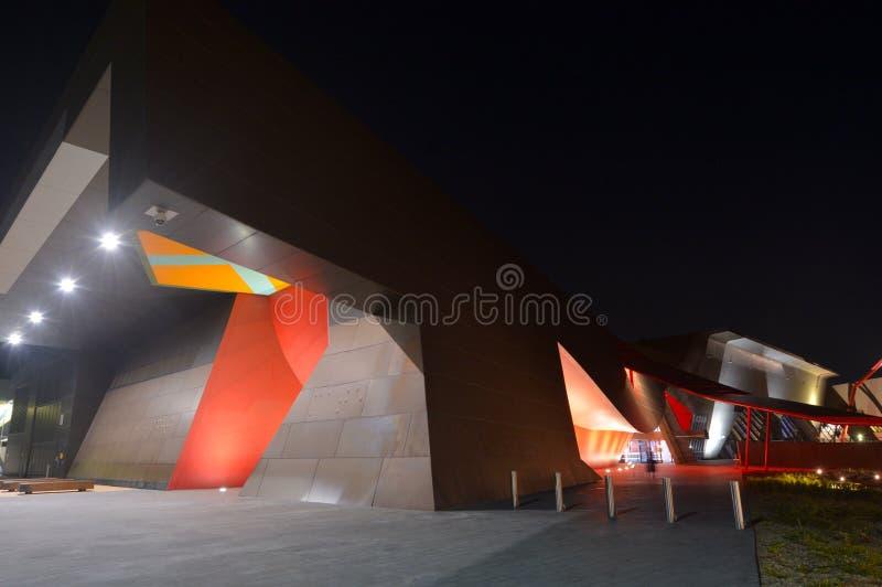 Nationellt museum av Australien på natten i Canberra Australien arkivfoton