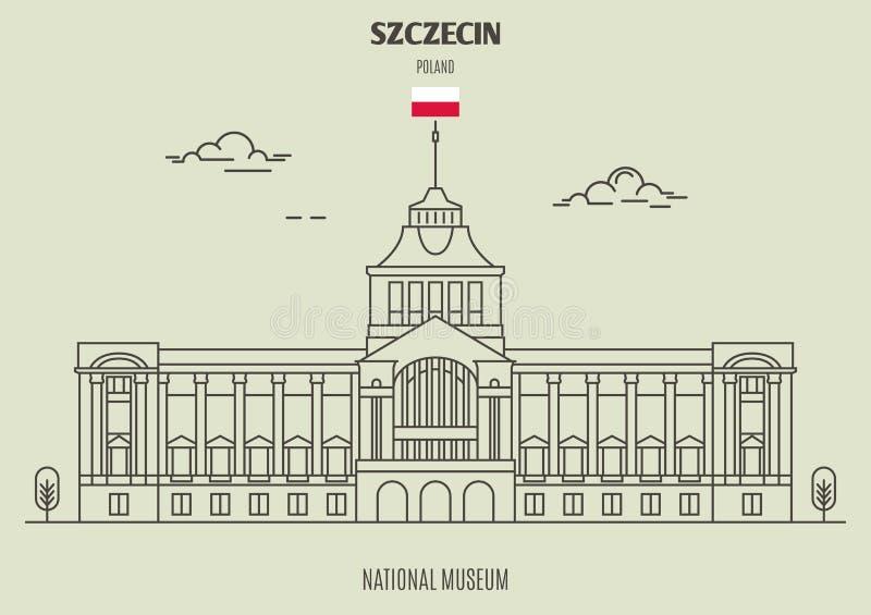 Nationellt museum i Szczecin, Polen Gränsmärkesymbol stock illustrationer