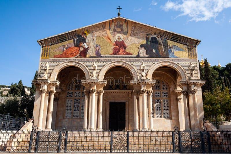 Nationer Gethsemane Jerusalem för kyrka allra royaltyfria bilder