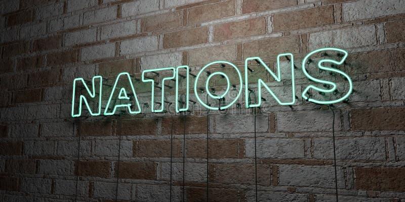 NATIONER - Glödande neontecken på stenhuggeriarbeteväggen - 3D framförde den fria materielillustrationen för royalty vektor illustrationer