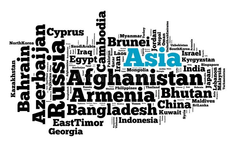 Nationer i Asien stock illustrationer