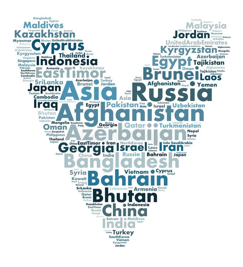 Nationer i Asien vektor illustrationer