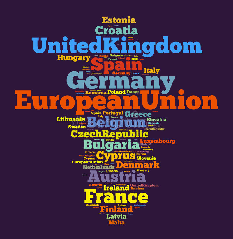 Nationer i europeisk union stock illustrationer