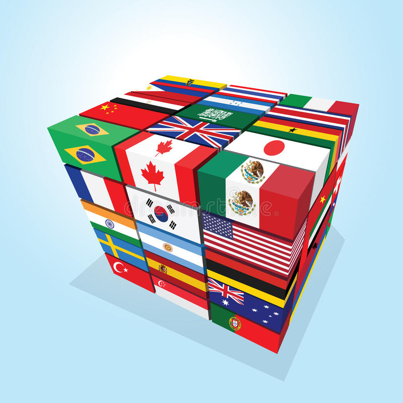 Nations Cube Stock Vector