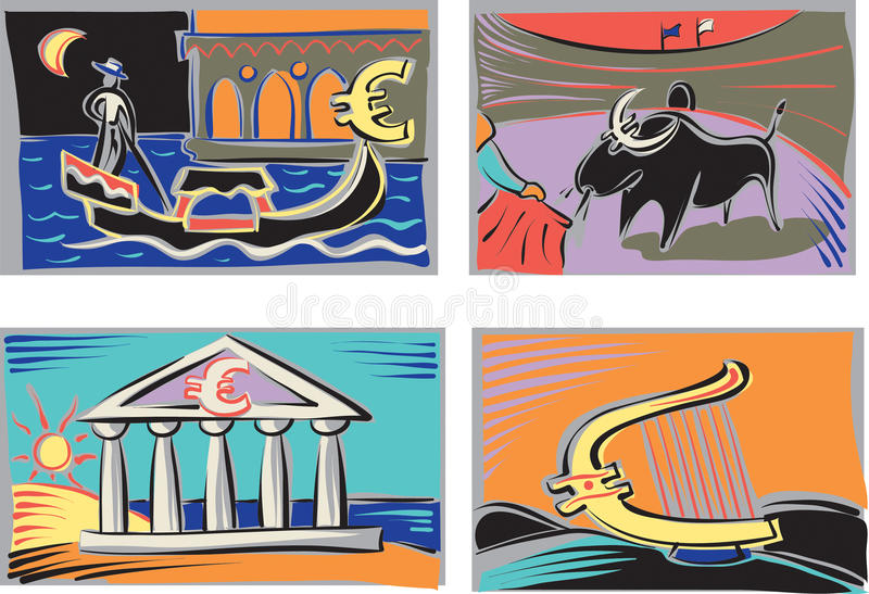 Nations de l'euro illustration libre de droits