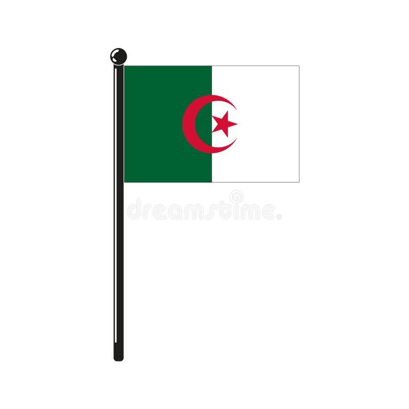 Nationsflagga av Algeriet på pinnen royaltyfri illustrationer