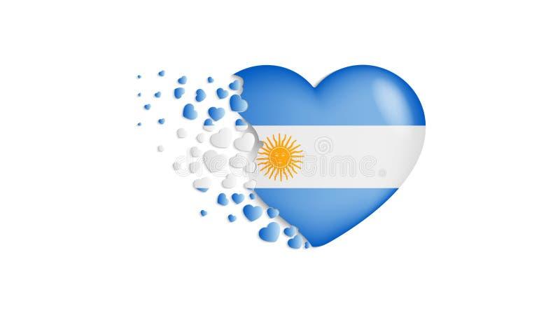 Nationsflagga av Argentina i hjärtaillustration Med förälskelse till det Argentina landet Den lilla nationsflaggan av den Argenti vektor illustrationer