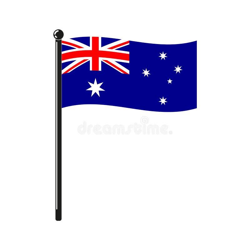 Nationsflagga av Australien på pinnen royaltyfri illustrationer