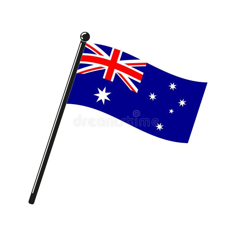 Nationsflagga av Australien på pinnen stock illustrationer