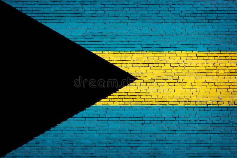 Nationsflagga av Bahamas på en tegelsten vektor illustrationer