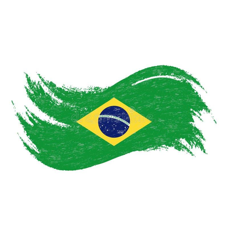 Nationsflagga av Brasilien som planläggs genom att använda borsteslaglängder som isoleras på en vit bakgrund också vektor för cor vektor illustrationer