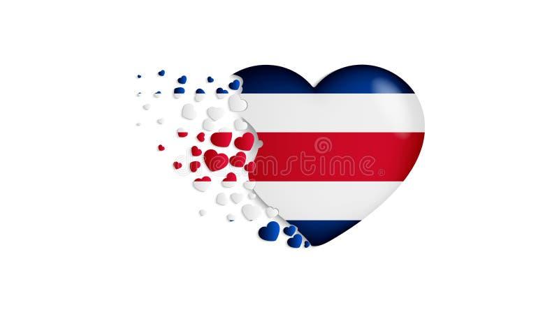 Nationsflagga av Costa Rica i hjärtaillustration Med förälskelse till det Costa Rica landet Den lilla nationsflaggan av den Costa royaltyfri illustrationer