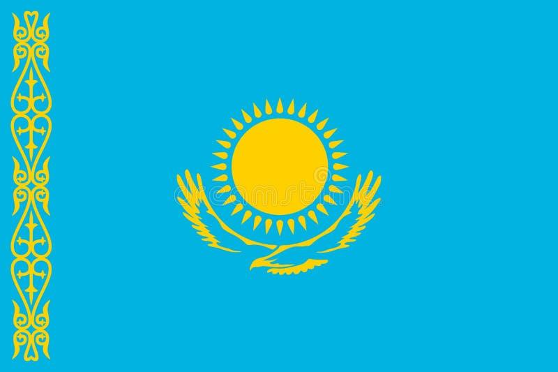 Nationsflagga av den Kasakhstan republiken royaltyfri illustrationer
