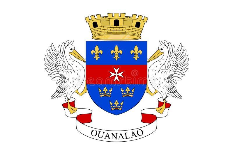 Nationsflagga av den St Barthelemy ön stock illustrationer