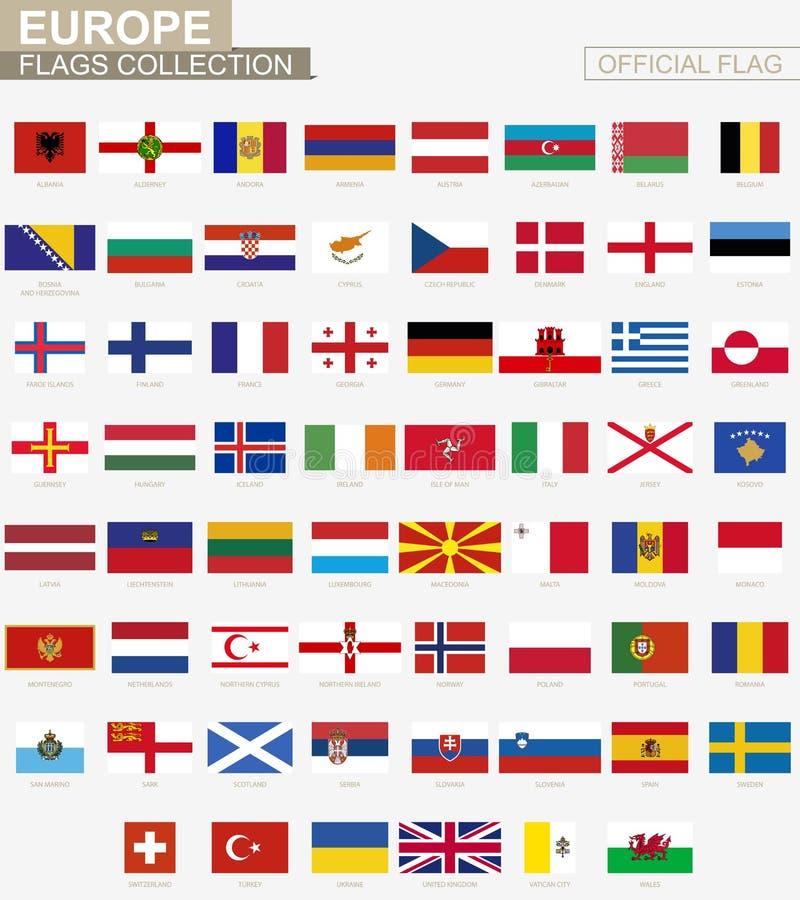 Nationsflagga av europeiska länder, officiell vektorflaggasamling vektor illustrationer