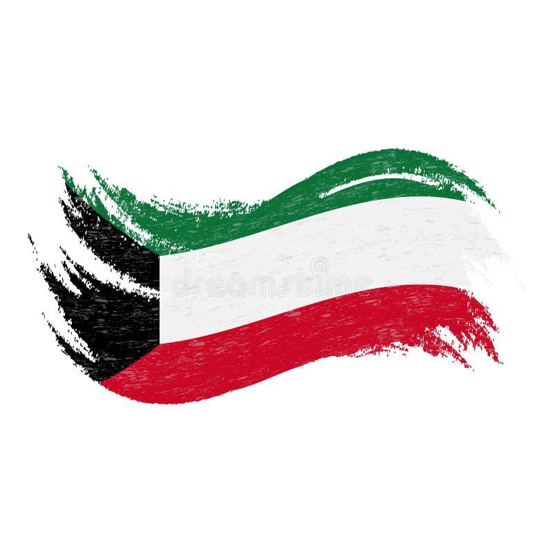 Nationsflagga av Kuwait som planläggs genom att använda borsteslaglängder som isoleras på en vit bakgrund också vektor för coreld royaltyfri illustrationer