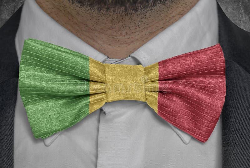 Nationsflagga av Mali på dräkt för bowtieaffärsman royaltyfri fotografi