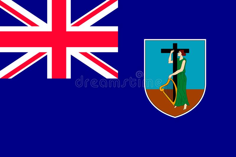 Nationsflagga av Montserrat Island royaltyfri illustrationer