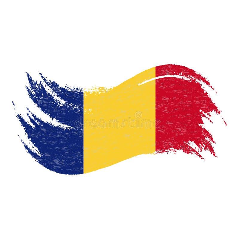 Nationsflagga av Rumänien som planläggs genom att använda borsteslaglängder som isoleras på en vit bakgrund också vektor för core royaltyfri illustrationer