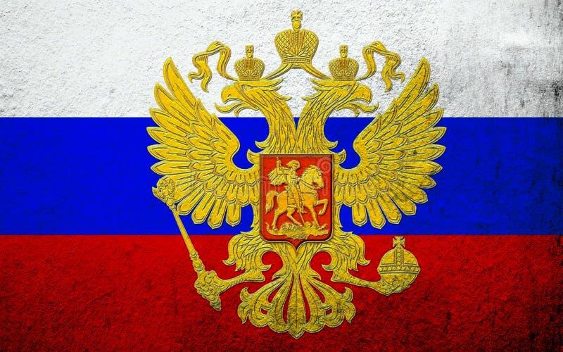 Nationsflagga av rysk federation med vapenskölden Kan användas som en vykort stock illustrationer