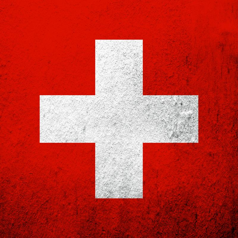 Nationsflagga av Schweiz Schweiziska edsförbundet Kan användas som en vykort royaltyfria foton