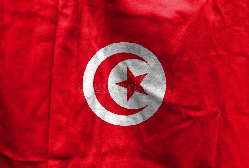 Nationsflagga av Tunisien royaltyfri fotografi
